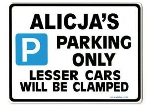 ALICJA'S Personalised Parking Sign Gift | Unique Car Present for Her |  Size Large - Metal faced